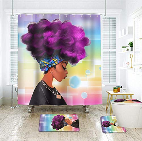 EVERMARKET Creative Colorful Printing Toilet Pad Cover Bath Mat Shower Curtain Set for Bathroom Decor,4 Pcs Set - 1 Shower Curtain & 3 Toilet Mat and Lid Cover (African Woman)