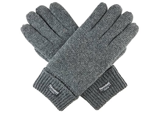 Knit Acrylic Wool (Bruceriver Men's Pure Wool Knitted Gloves with Thinsulate Lining Size S/M (Grey))