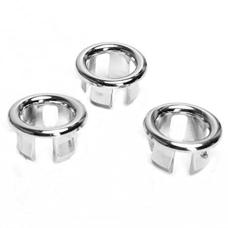 3x Bathroom Kitchen Sink Hole Round Overflow Cover Basin Tidy ...