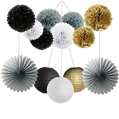 HEARTFEEL 13PCS Black Gold Party Decoration - Tissue Paper Pom Poms Paper Lanterns Folding Fan for Wedding Baby Shower Decoration Bridal Shower Blue First Birthday(White Grey Black Gold)