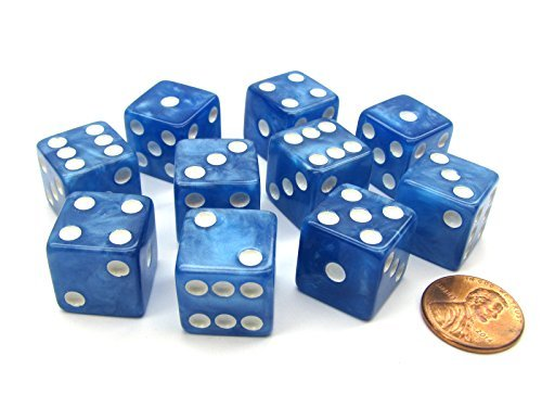 (Set of 10 D6 16mm Marbleized Square Corner Dice - Blue with White Pips )