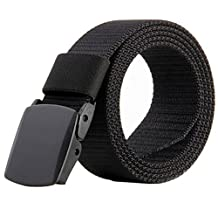 JasGood Nylon Canvas Breathable Quick-Drying Military Tactical Style Adjustable Waist Web Men Belt With Plastic Buckle JA015_Black