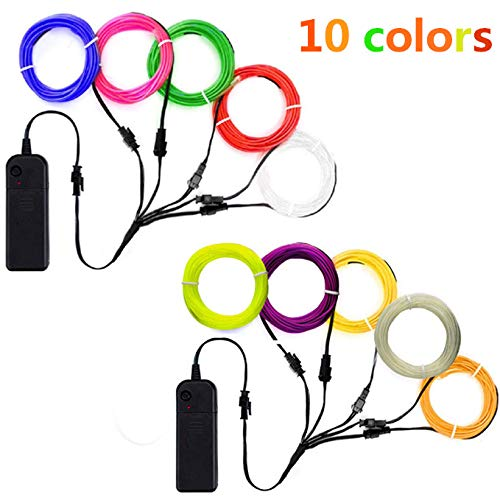 TGHCP-10x3FT Neon Glowing EL Wire with Battery Pack (10 Colors)