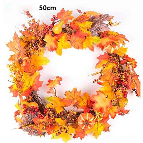 Door Wreaths,Lavany Berry Maple Leaf Fall Colors Front Door Wreath Door Wall Ornament 20 Inche (A) - Sunflower Seed Wreath