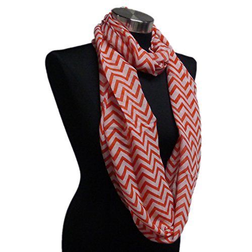 Adorox Soft Chevron Sheer Infinity Scarf in Contrasting Colors (Ruby Red)