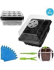 ANBET 5 Pack Set de iniciación de Semillas de Plantas con Bandeja de plántulas de Domo de Humedad Ajustable para Crecimiento de germinación, Cultivo de Invernadero (12 Celdas por Bandeja)