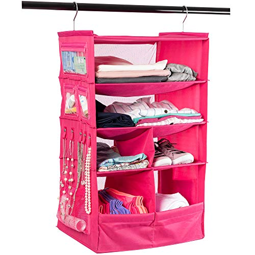 - Suitcase Organizer | Durable Portable Travel Packing System Hanging Luggage Cube (Pink)
