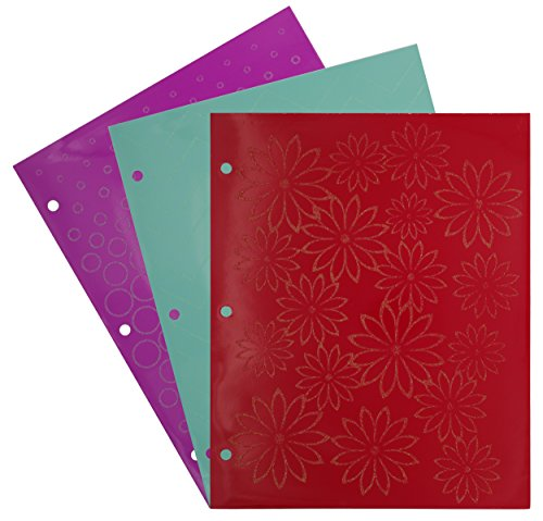 Emraw Laminated Fashion Glitter 2 Pocket File Portfolio Folder - Used for Papers, Loose-Leafs, Business Cards, Compact Discs, Etc. (3-Pack)