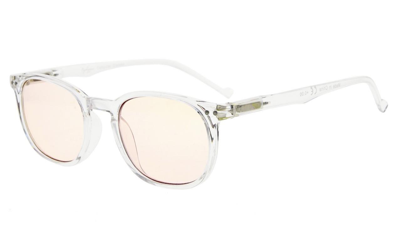 Gafas transparentes con montura en plastico y bisagras metálicas. Lentes teñidas.