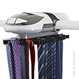 Mind Reader ETRACK-WHT Automatic Motorized Revolving Tie and Belt Rack with Built in LED Light, Closet Organizer