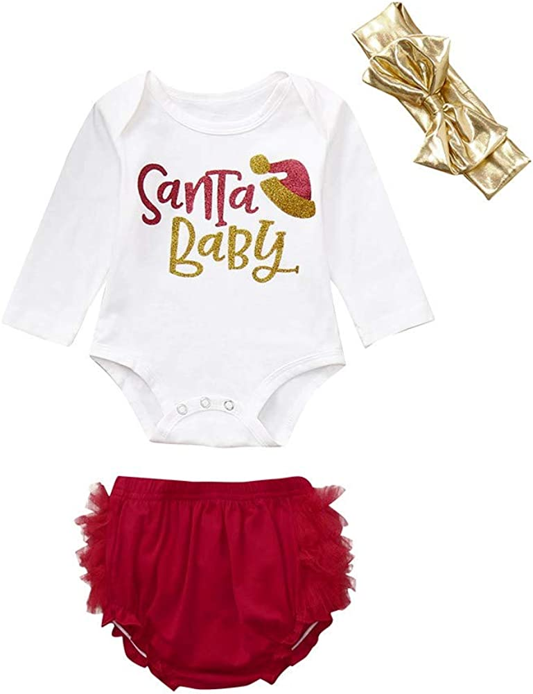 3PC Christmas Baby Girls Letter Print Romper+Shorts+Headband Set Clothes