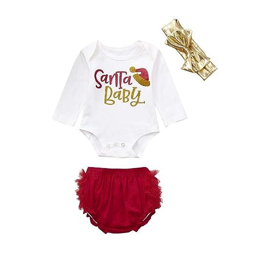 digood toddler baby girls christmas clothesxmas santa romper shorts headband outfits setsfor