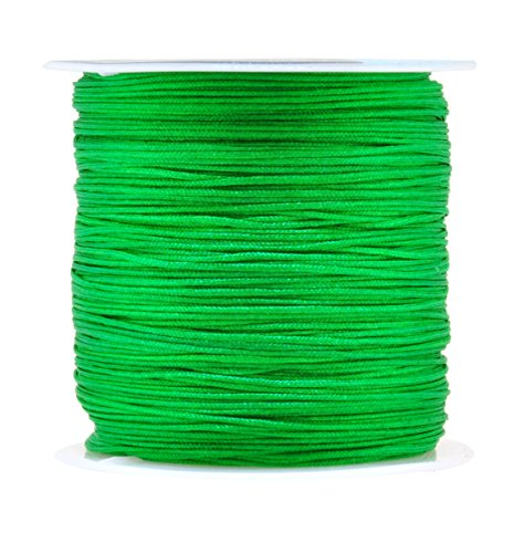 Mandala Crafts 0.8mm 100M Satin Nylon Chinese Knot Rattail Macramé Beading Knotting Sewing Cord (Green)