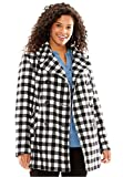Woman Within Women's Plus Size Wool-Blend Double-Breasted Peacoat Black White Gingham,24 W