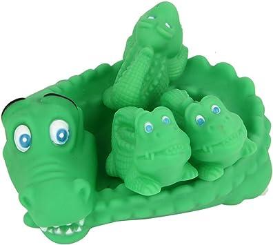 Big Crocodile Jouets de bain,Morbuy Un Grand Trois Petits Jouets de bain Baby Bathing Jouets en caoutchouc souple Jouets pour Enfants Animaux Jouet de son