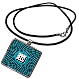 3dRose Russ Billington Numbers- Number 10 - Number 10-Hypnotic Blue Geometric Symmetry Under White Keyboard Button - Necklace with Rectangle Pendant (ncl_297842_1)