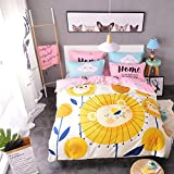 WarmGo 3 Piece 100% Cotton Bedding Set Cute Lion Pattern Duvet Covet Set with Personality Pillowshams Twin Size for Kids -Not Include Comforter