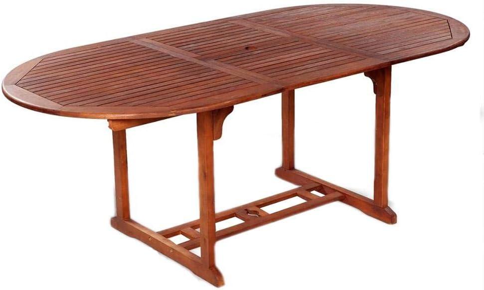 Mesa ovalada plegable de madera maciza de acacia, mesa plegable de jardín exterior de madera, 200 x 100 x 74 cm