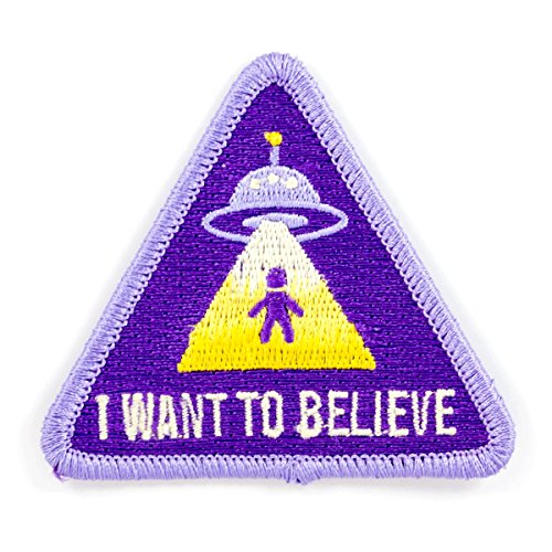 These Are Things I Want to Believe Alien UFO Embroidered Iron On or Sew On Patch ()