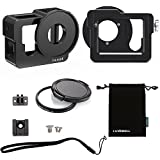 Luxebell Aluminium Alloy Skeleton Thick Solid Protective Case Shell with 52mm Uv Filter for Gopro Hero 4 Black, Silver Camera - Wide Angle Mode Have No Vignetting (Hero 4 Case)