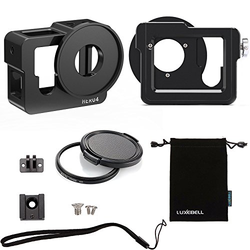 Luxebell Aluminium Alloy Skeleton Thick Solid Protective Case Shell with 52mm Uv Filter for Gopro Hero 4 Black, Silver Camera - Wide Angle Mode Have No Vignetting