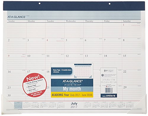 "AT-A-GLANCE Academic Desk Pad Calendar, July 2017 - June 2018, 22"" x 17"", Two-Color (AYST2417)"