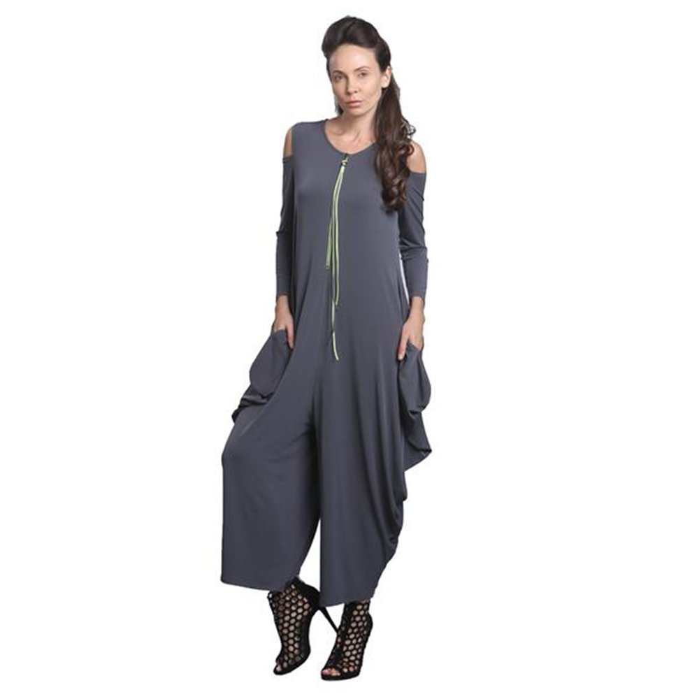 IC Collection Cold Shoulder Jumpsuit In Charcoal Plus Size Available 8419 (Medium)