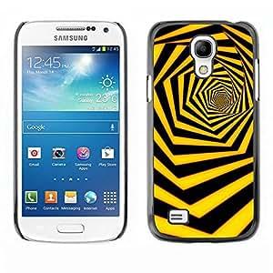 Be Good Phone Accessory // Dura Cáscara cubierta Protectora Caso Carcasa Funda de Protección para Samsung Galaxy S4 Mini i9190 MINI VERSION! // Black Yellow Hexahedron Swirl