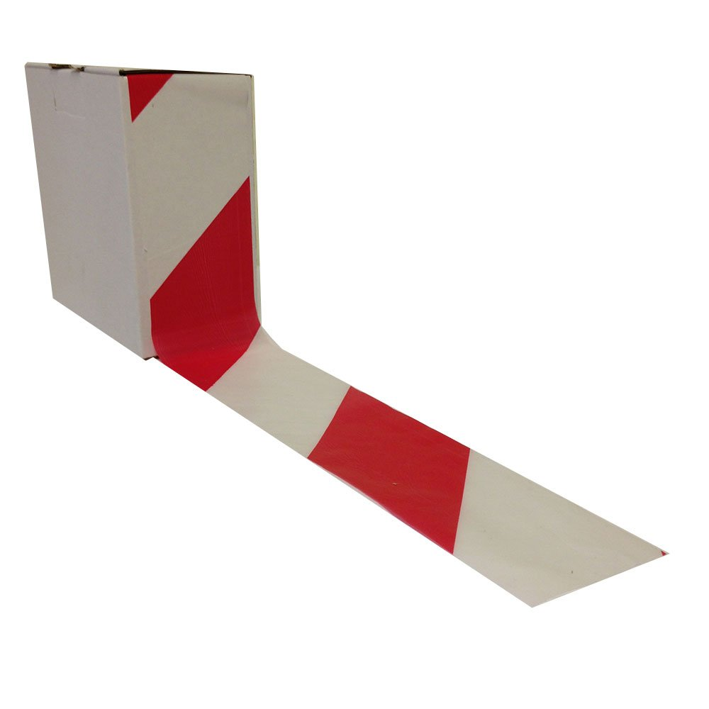 1 Roll of Hazard Warning Tape Non Adhesive Red /& White Barrier 72mm x 500m