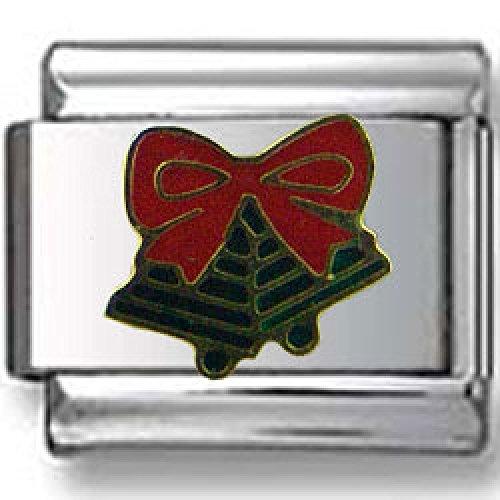 Green Ribbon Italian Charm - Jingle Bells with Ribbon Italian charm
