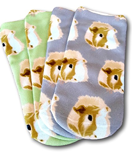 - Two Pairs of Guinea Pig Face Ankle Socks by Crazy Guinea Pig Lady Guinea Pig Gifts (Green/Light Slate Gray)