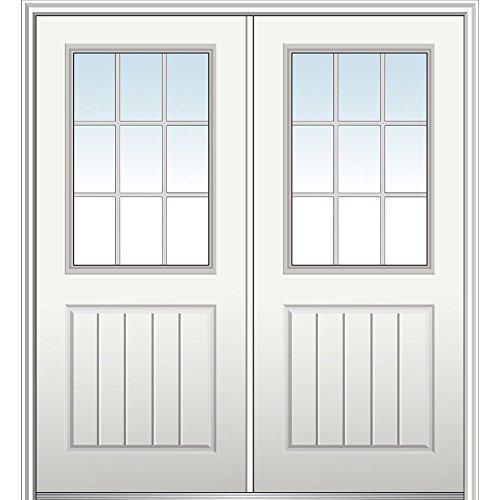 National Door Z029795L Smooth Primed Left Hand In-Swing Prehung Front Door, 1/2 Lite 1-Panel Planked, 72'' x 80'', Fiberglass by National Door Company