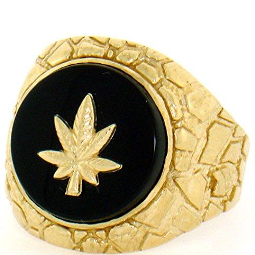 - 14k Solid Gold Nugget Marijuana Oval Onyx Mens Ring