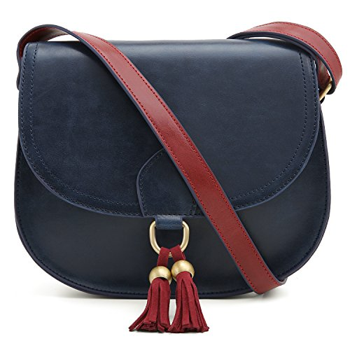 Detail Leather Slip Buckle (ECOSUSI Saddle Shoulder Bags Purse Vintage Crossbody Bag for Women with Tassels, Blue)