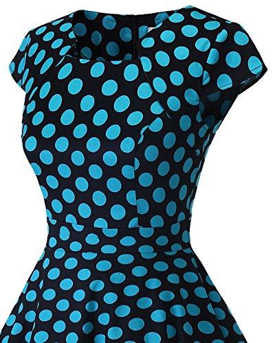 Dot Manga Mujeres 1950 Big Cap Homrain Swing Blue Rockabilly Vintage Cóctel Vestido Black w7Bfw64x
