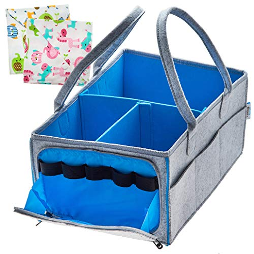 Baby Diaper Caddy Organizer|Nursery Essentials| Infant Portable Car Travel Storage Bag| Changing Table Organizer| Registry Must Haves| Newborn Boy Girl Shower Gift|