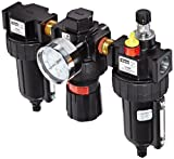 Parker 16A34B18A4BC Close Nippled Three Piece Filter/Regulator/Lubricator, 1/2'' NPT, Metal Bowl with Sight Gauge, Twist Drain, 5 micron, 90 scfm, Relieving Type, 2-125 psig Pressure Range, with Gauge, without Brackets
