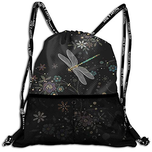 JIAU HUA Lightweight Drawstring Gym Backpack Beautiful Dragonfly Gym Bags Sackpack Knapsack for Hiking Swimming Yoga Gym Outdoor Exercise Running Travel ()
