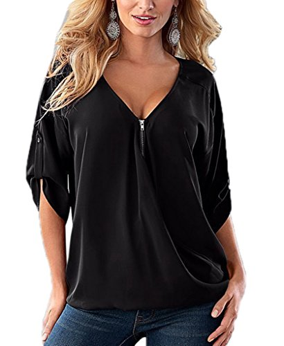 T V Couleur Polyester Noir Shirt Courtes Manches Col Uni Xiang Blouse en Ru Large Top ZT6xqWXtz