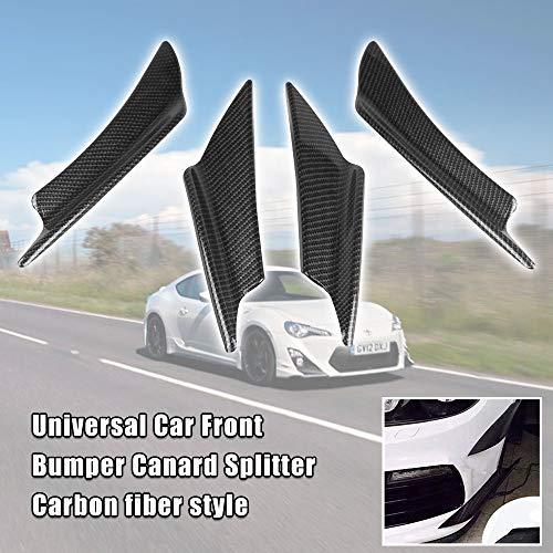 Alpha racing Ruien 4 PCS Carbon Fiber Style Plastic Car Front Bumper Canard Splitter Canards Exterior