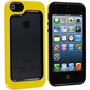 Accessory Planet(TM) Black / Yellow Hybrid TPU Bumper Hard Frame Case Cover for Apple iPhone 5 / 5S