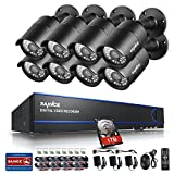 Annke 8CH 1080P AHD CCTV Camera System with 1TB Hard Drive + 8HD 19201080 Outdoor Surveillance Cameras (36 infrared LEDs with 100ft night vision,Weatherproof Metal Housing, Motion Detection )