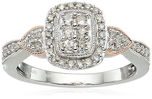 14k Rose Gold over Sterling Silver Diamond Halo Engagement Ring (1/3 cttw), Size 7 by Amazon Collection