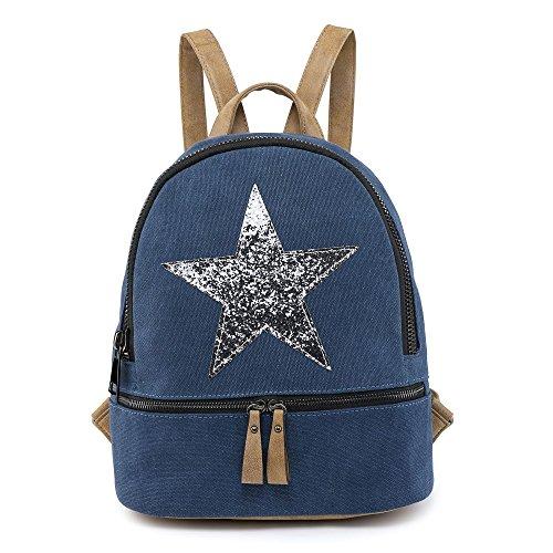 SALE SALE New Designer Womens/Girls Canvas Star Backpack Designed Fashion Rucksack Travel Bag Navy