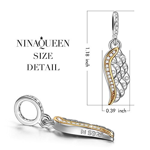 NINAQUEEN Angel Wings 925 Sterling Silver Gold Plated Dangle Bead Charms Pendant Great for Necklace, Lucky Charms Inlaid with 5A Cubic Zirconias