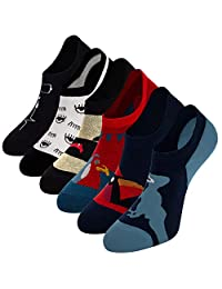 Empino Mens No Show Socks Non Slip Fun Patterened Novelty Cotton Low Cut Casual Socks Liner