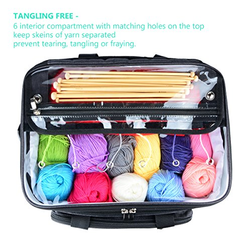 """Hoshin Knitting Bag for Yarn Storage, High Capacity Yarn Totes Organizer with Inner Divider Portable for Carrying Project, Knitting Needles(up to 14""""), Crochet Hooks, Skeins of Yarn (Black) by Hoshin (Image #3)"""