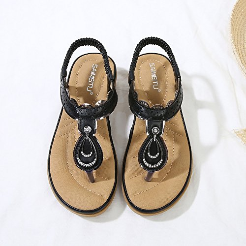 Thong Wollanlily Summer Sandals Flip Strap Flat flop Women Ankle Beach 01 Black Shoes Bohemia SUvxrwgSq