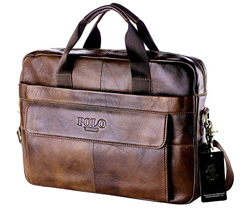 POLO VIDENG Mens Genuine Leather Business Handbag