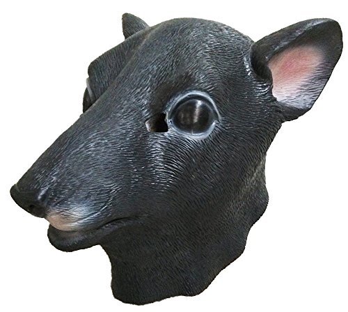 Rat Mask Mouse Latex Animal Head Disguise Halloween Costume Fancy Dress Party Black